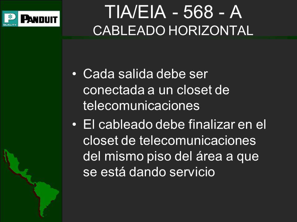 TIA/EIA - 568 - A CABLEADO HORIZONTAL Cada salida debe ser conectada a un closet de telecomunicaciones El cableado debe finalizar en el closet de telecomunicaciones del mismo piso del área a que se está dando servicio