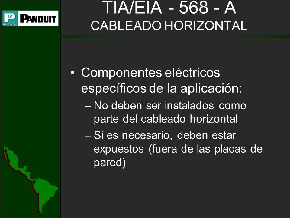 TIA/EIA - 568 - A CABLEADO HORIZONTAL Componentes eléctricos específicos de la aplicación: –No deben ser instalados como parte del cableado horizontal –Si es necesario, deben estar expuestos (fuera de las placas de pared)