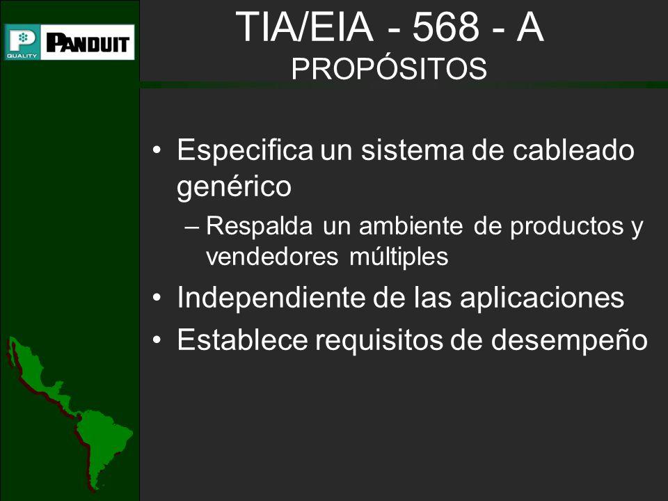 TIA/EIA - 568 - A PROPÓSITOS Especifica un sistema de cableado genérico –Respalda un ambiente de productos y vendedores múltiples Independiente de las aplicaciones Establece requisitos de desempeño