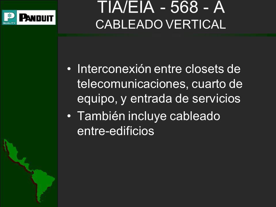 Interconexión entre closets de telecomunicaciones, cuarto de equipo, y entrada de servicios También incluye cableado entre-edificios