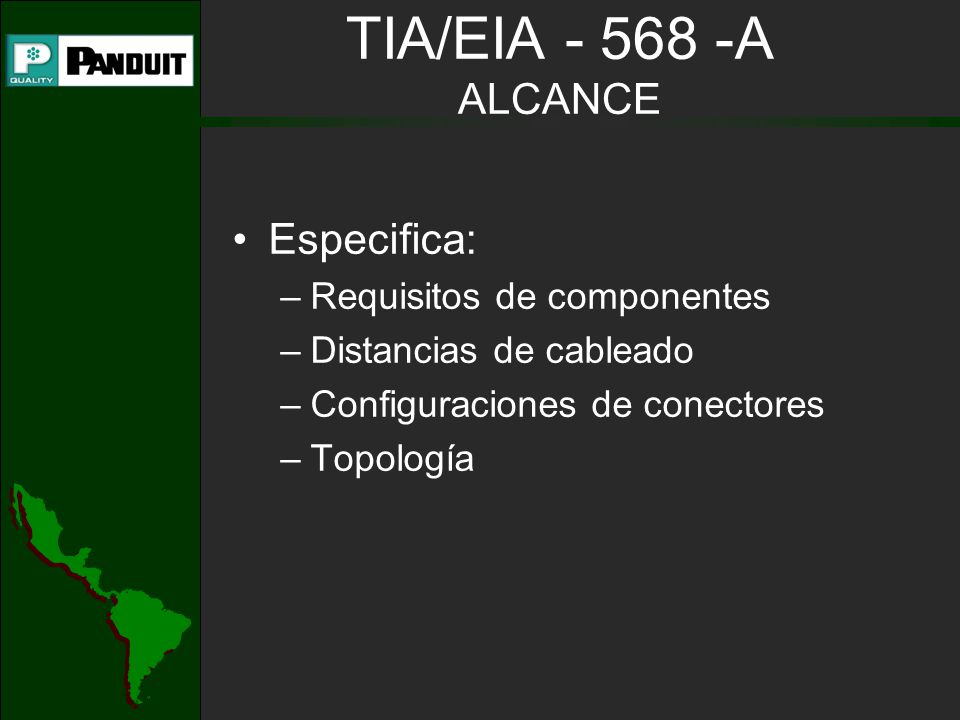 TIA/EIA - 568 - A CABLEADO VERTICAL Cables reconocidos –Cable multi-par UTP de 100 –Cable STP de 150 –Cable de fibra óptica de 62.5/125 m –Cable de fibra óptica mono-modo