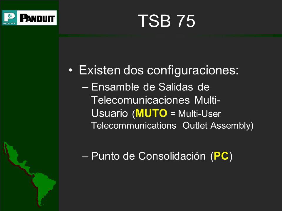 Existen dos configuraciones: –Ensamble de Salidas de Telecomunicaciones Multi- Usuario ( MUTO = Multi-User Telecommunications Outlet Assembly) –Punto de Consolidación (PC) TSB 75