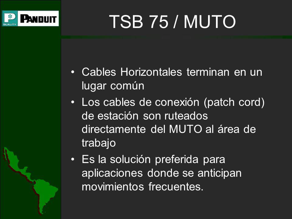 Cables Horizontales terminan en un lugar común Los cables de conexión (patch cord) de estación son ruteados directamente del MUTO al área de trabajo Es la solución preferida para aplicaciones donde se anticipan movimientos frecuentes.