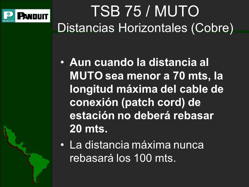 TSB 75 / MUTO Distancias Horizontales (Cobre) Aun cuando la distancia al MUTO sea menor a 70 mts, la longitud máxima del cable de conexión (patch cord) de estación no deberá rebasar 20 mts.