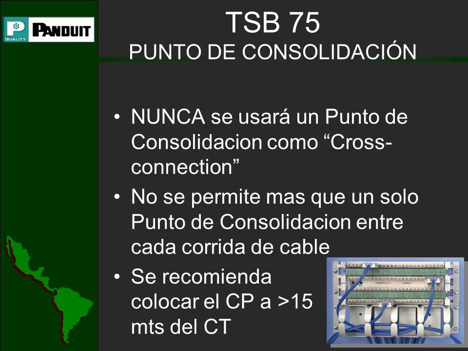 NUNCA se usará un Punto de Consolidacion como Cross- connection No se permite mas que un solo Punto de Consolidacion entre cada corrida de cable Se recomienda colocar el CP a >15 mts del CT TSB 75 PUNTO DE CONSOLIDACIÓN