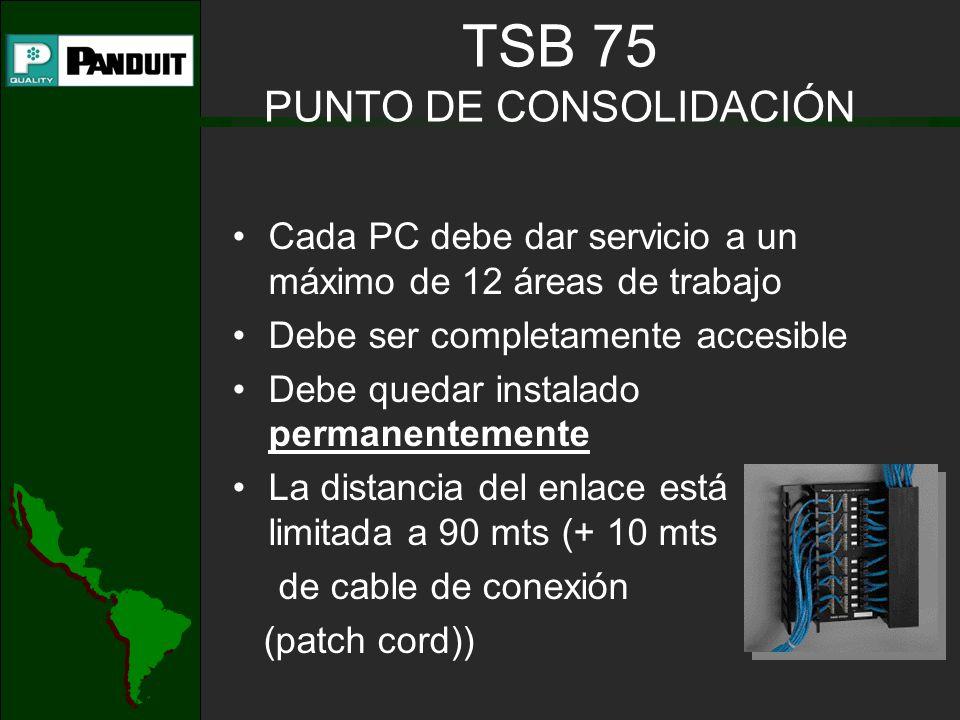 Cada PC debe dar servicio a un máximo de 12 áreas de trabajo Debe ser completamente accesible Debe quedar instalado permanentemente La distancia del enlace está limitada a 90 mts (+ 10 mts de cable de conexión (patch cord)) TSB 75 PUNTO DE CONSOLIDACIÓN