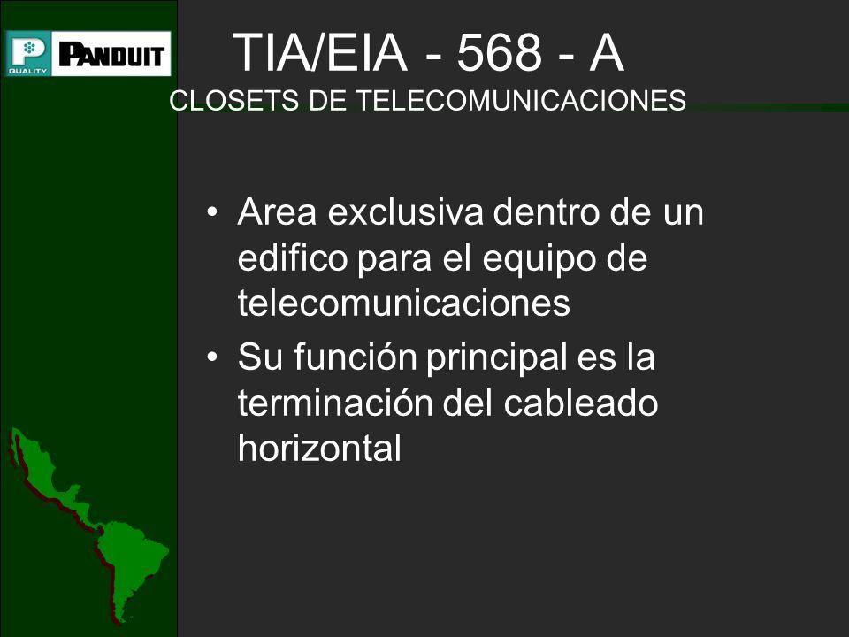 TIA/EIA - 568 - A CLOSETS DE TELECOMUNICACIONES Area exclusiva dentro de un edifico para el equipo de telecomunicaciones Su función principal es la terminación del cableado horizontal