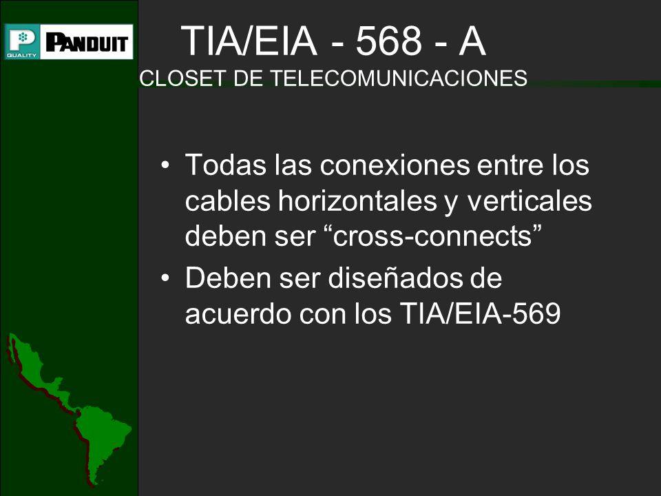 Todas las conexiones entre los cables horizontales y verticales deben ser cross-connects Deben ser diseñados de acuerdo con los TIA/EIA-569 TIA/EIA - 568 - A CLOSET DE TELECOMUNICACIONES