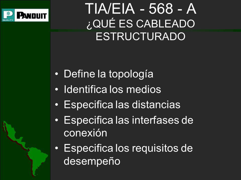 TIA/EIA - 568 - A ¿QUÉ ES CABLEADO ESTRUCTURADO Define la topología Identifica los medios Especifica las distancias Especifica las interfases de conexión Especifica los requisitos de desempeño
