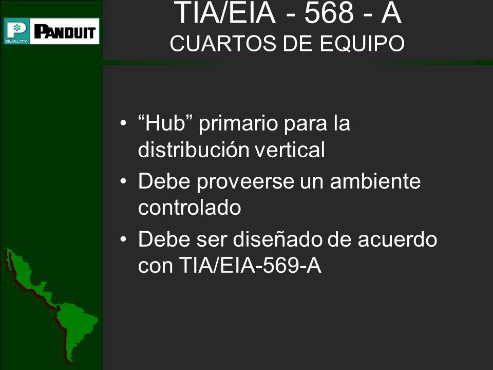 TIA/EIA - 568 - A CUARTOS DE EQUIPO Hub primario para la distribución vertical Debe proveerse un ambiente controlado Debe ser diseñado de acuerdo con