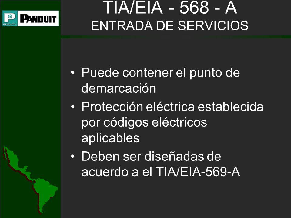 TIA/EIA - 568 - A ENTRADA DE SERVICIOS Puede contener el punto de demarcación Protección eléctrica establecida por códigos eléctricos aplicables Deben ser diseñadas de acuerdo a el TIA/EIA-569-A