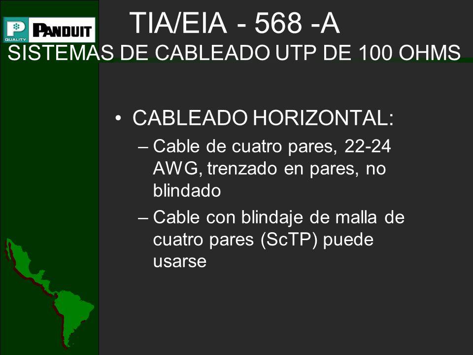 TIA/EIA - 568 -A SISTEMAS DE CABLEADO UTP DE 100 OHMS CABLEADO HORIZONTAL: –Cable de cuatro pares, 22-24 AWG, trenzado en pares, no blindado –Cable con blindaje de malla de cuatro pares (ScTP) puede usarse