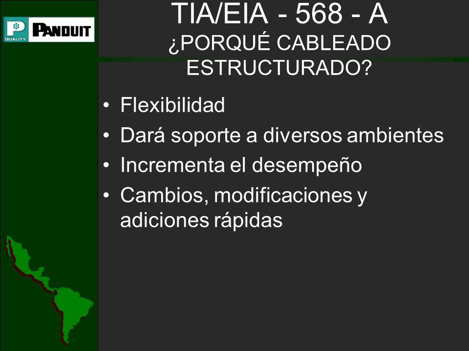 TIA/EIA - 568 - A ¿PORQUÉ CABLEADO ESTRUCTURADO? Flexibilidad Dará soporte a diversos ambientes Incrementa el desempeño Cambios, modificaciones y adic