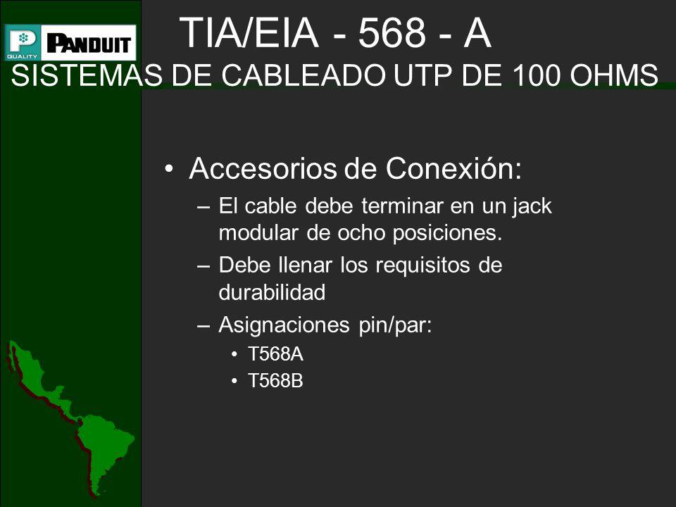 TIA/EIA - 568 - A SISTEMAS DE CABLEADO UTP DE 100 OHMS Accesorios de Conexión: –El cable debe terminar en un jack modular de ocho posiciones.