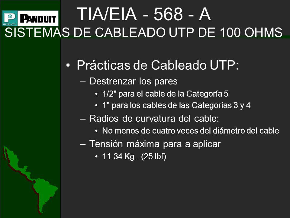 TIA/EIA - 568 - A SISTEMAS DE CABLEADO UTP DE 100 OHMS Prácticas de Cableado UTP: –Destrenzar los pares 1/2 para el cable de la Categoría 5 1 para los cables de las Categorías 3 y 4 –Radios de curvatura del cable: No menos de cuatro veces del diámetro del cable –Tensión máxima para a aplicar 11.34 Kg..