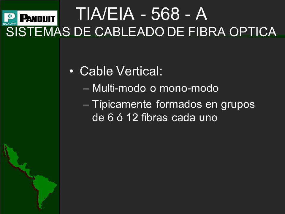 TIA/EIA - 568 - A SISTEMAS DE CABLEADO DE FIBRA OPTICA Cable Vertical: –Multi-modo o mono-modo –Típicamente formados en grupos de 6 ó 12 fibras cada u
