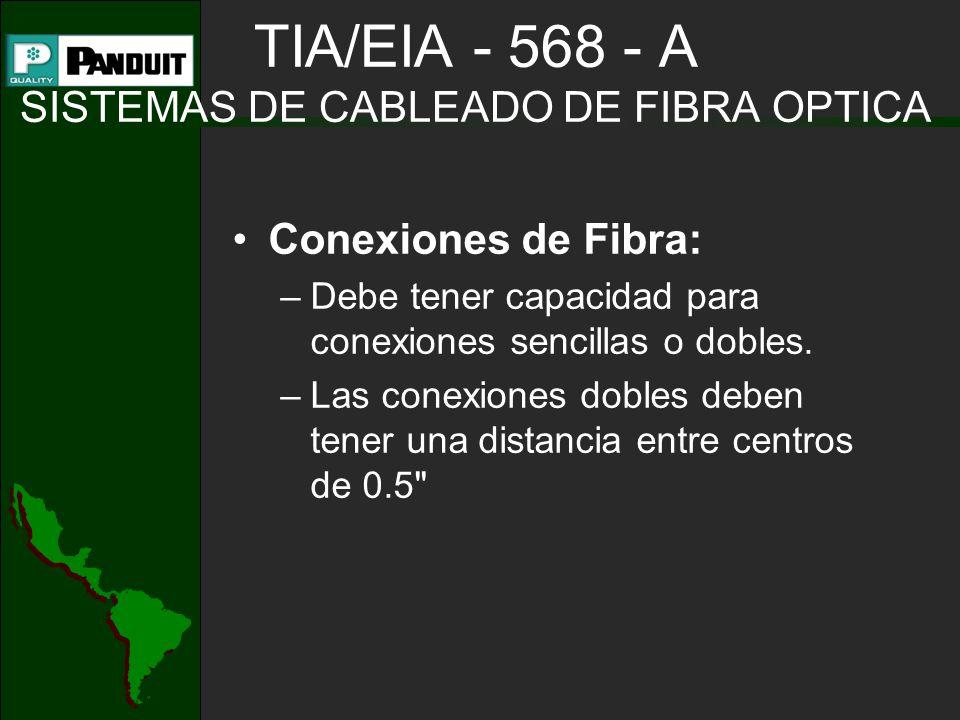 TIA/EIA - 568 - A SISTEMAS DE CABLEADO DE FIBRA OPTICA Conexiones de Fibra: –Debe tener capacidad para conexiones sencillas o dobles. –Las conexiones