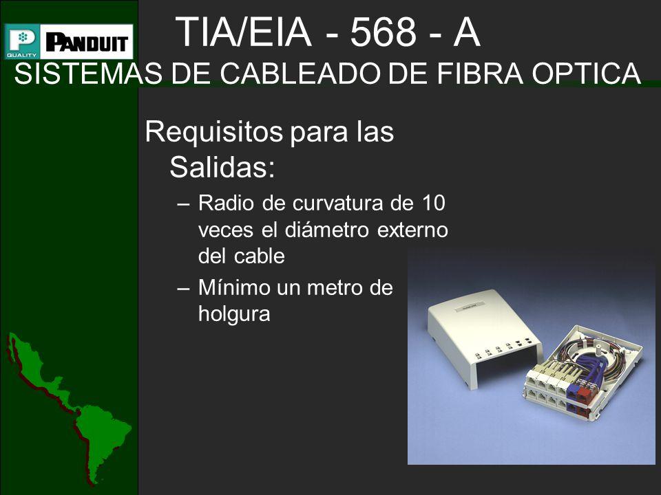 TIA/EIA - 568 - A SISTEMAS DE CABLEADO DE FIBRA OPTICA Requisitos para las Salidas: –Radio de curvatura de 10 veces el diámetro externo del cable –Mínimo un metro de holgura