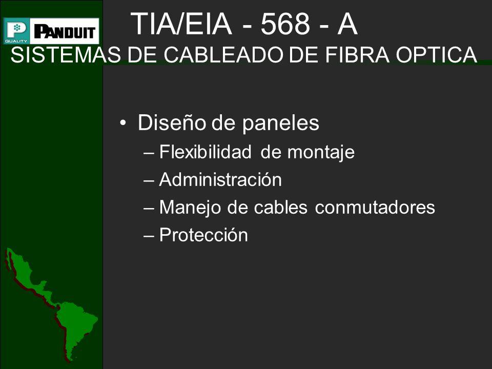 TIA/EIA - 568 - A SISTEMAS DE CABLEADO DE FIBRA OPTICA Diseño de paneles –Flexibilidad de montaje –Administración –Manejo de cables conmutadores –Prot