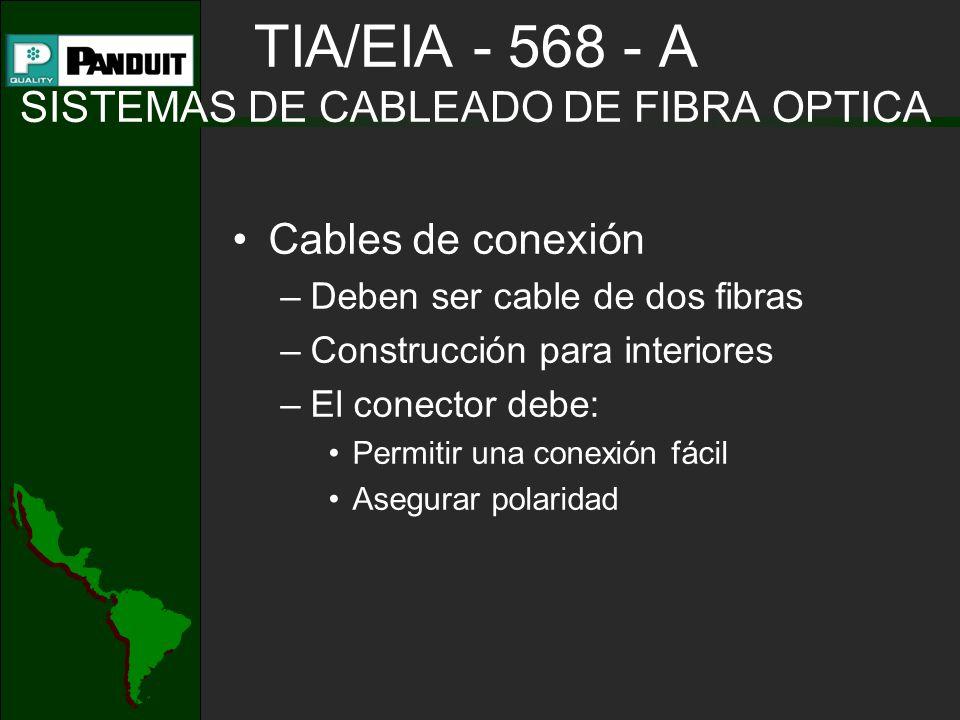 TIA/EIA - 568 - A SISTEMAS DE CABLEADO DE FIBRA OPTICA Cables de conexión –Deben ser cable de dos fibras –Construcción para interiores –El conector debe: Permitir una conexión fácil Asegurar polaridad