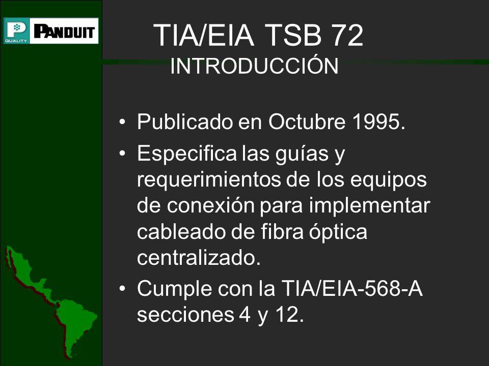TIA/EIA TSB 72 INTRODUCCIÓN Publicado en Octubre 1995. Especifica las guías y requerimientos de los equipos de conexión para implementar cableado de f