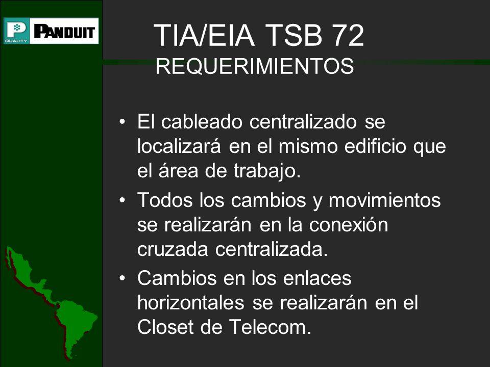 TIA/EIA TSB 72 REQUERIMIENTOS El cableado centralizado se localizará en el mismo edificio que el área de trabajo. Todos los cambios y movimientos se r