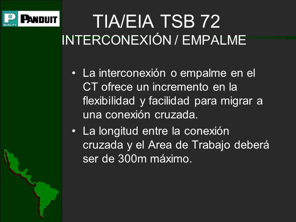 TIA/EIA TSB 72 INTERCONEXIÓN / EMPALME La interconexión o empalme en el CT ofrece un incremento en la flexibilidad y facilidad para migrar a una conexión cruzada.