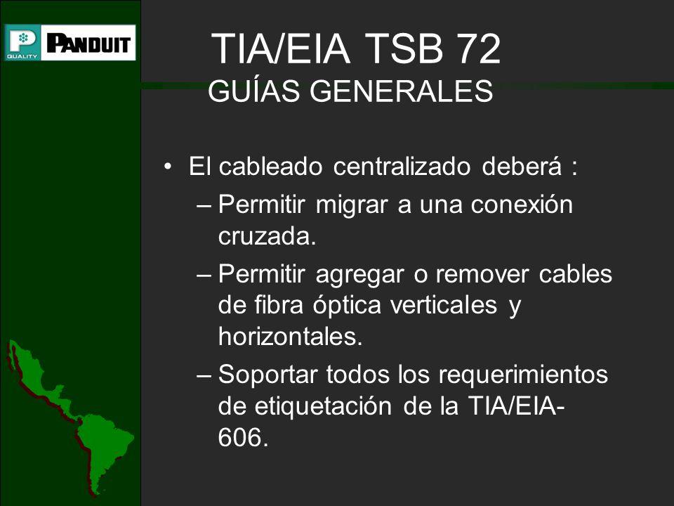 TIA/EIA TSB 72 GUÍAS GENERALES El cableado centralizado deberá : –Permitir migrar a una conexión cruzada. –Permitir agregar o remover cables de fibra