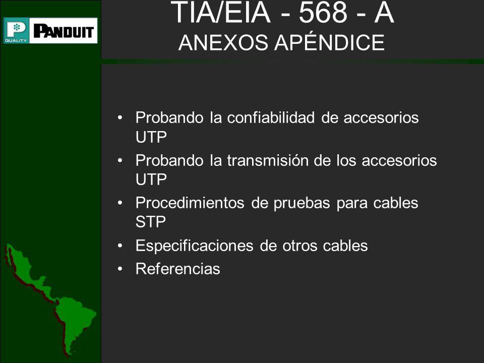 TIA/EIA - 568 - A ANEXOS APÉNDICE Probando la confiabilidad de accesorios UTP Probando la transmisión de los accesorios UTP Procedimientos de pruebas para cables STP Especificaciones de otros cables Referencias