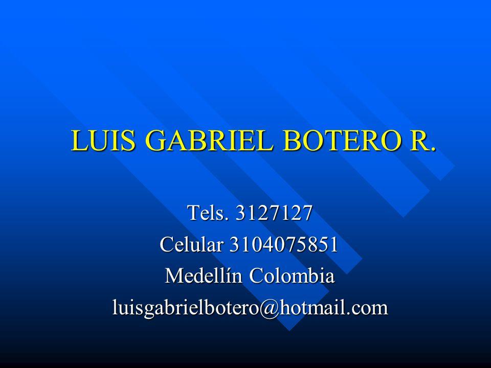 LUIS GABRIEL BOTERO R. Tels. 3127127 Celular 3104075851 Medellín Colombia luisgabrielbotero@hotmail.com