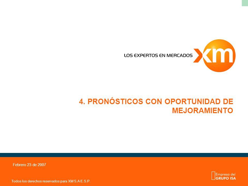 Todos los derechos reservados para XM S.A E.S.P. Febrero 23 de 2007 4. PRONÓSTICOS CON OPORTUNIDAD DE MEJORAMIENTO