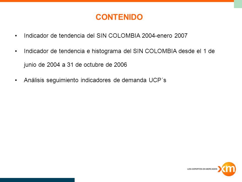 CONTENIDO Indicador de tendencia del SIN COLOMBIA 2004-enero 2007 Indicador de tendencia e histograma del SIN COLOMBIA desde el 1 de junio de 2004 a 31 de octubre de 2006 Análisis seguimiento indicadores de demanda UCP´s