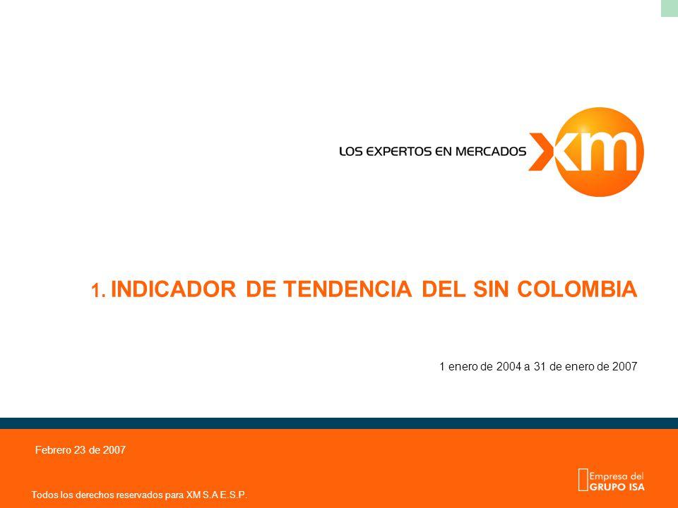 Todos los derechos reservados para XM S.A E.S.P. Febrero 23 de 2007 1. INDICADOR DE TENDENCIA DEL SIN COLOMBIA 1 enero de 2004 a 31 de enero de 2007