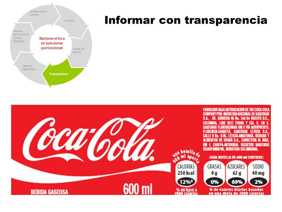 Informar con transparencia Mantener el foco en soluciones que funcionan Libertad de elección Transparencia Marketing Responsable Promover Estilos de Vida Activos y Saludables Utilizar evidencia científica Innovación