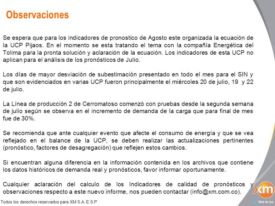 Todos los derechos reservados para XM S.A. E.S.P Observaciones Se espera que para los indicadores de pronostico de Agosto este organizada la ecuación