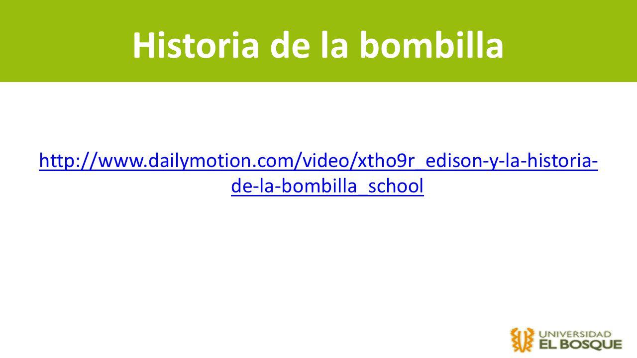 Historia de la bombilla http://www.dailymotion.com/video/xtho9r_edison-y-la-historia- de-la-bombilla_school
