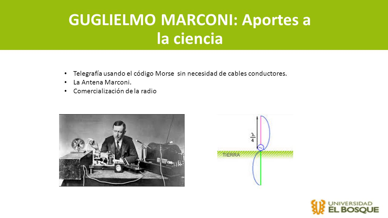 GUGLIELMO MARCONI: Aportes a la ciencia Telegrafía usando el código Morse sin necesidad de cables conductores. La Antena Marconi. Comercialización de