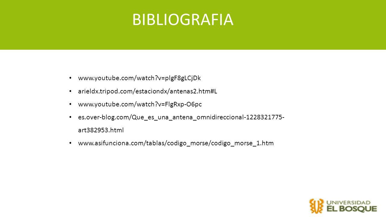 BIBLIOGRAFIA www.youtube.com/watch?v=plgF8gLCjDk arieldx.tripod.com/estaciondx/antenas2.htm#L www.youtube.com/watch?v=FlgRxp-O6pc es.over-blog.com/Que