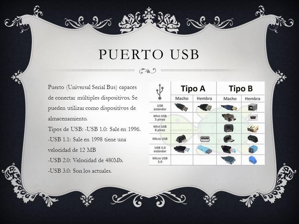PUERTO USB Puerto (Universal Serial Bus) capaces de conectar múltiples dispositivos.