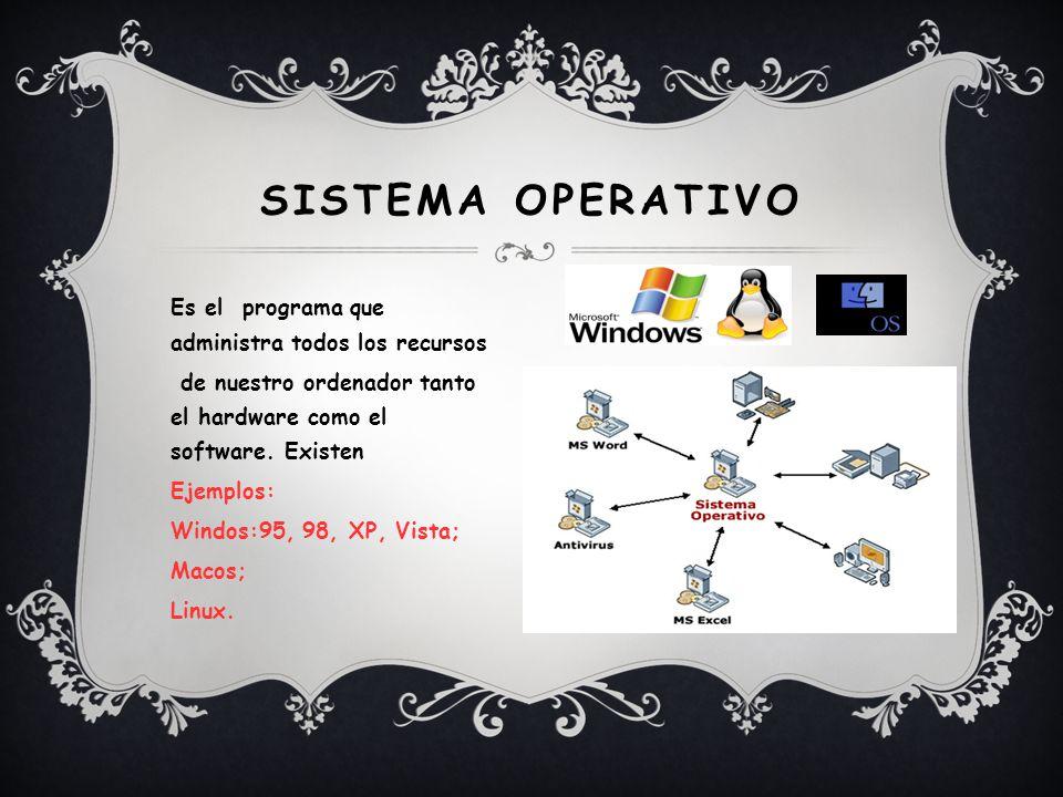 SISTEMA OPERATIVO Es el programa que administra todos los recursos de nuestro ordenador tanto el hardware como el software.