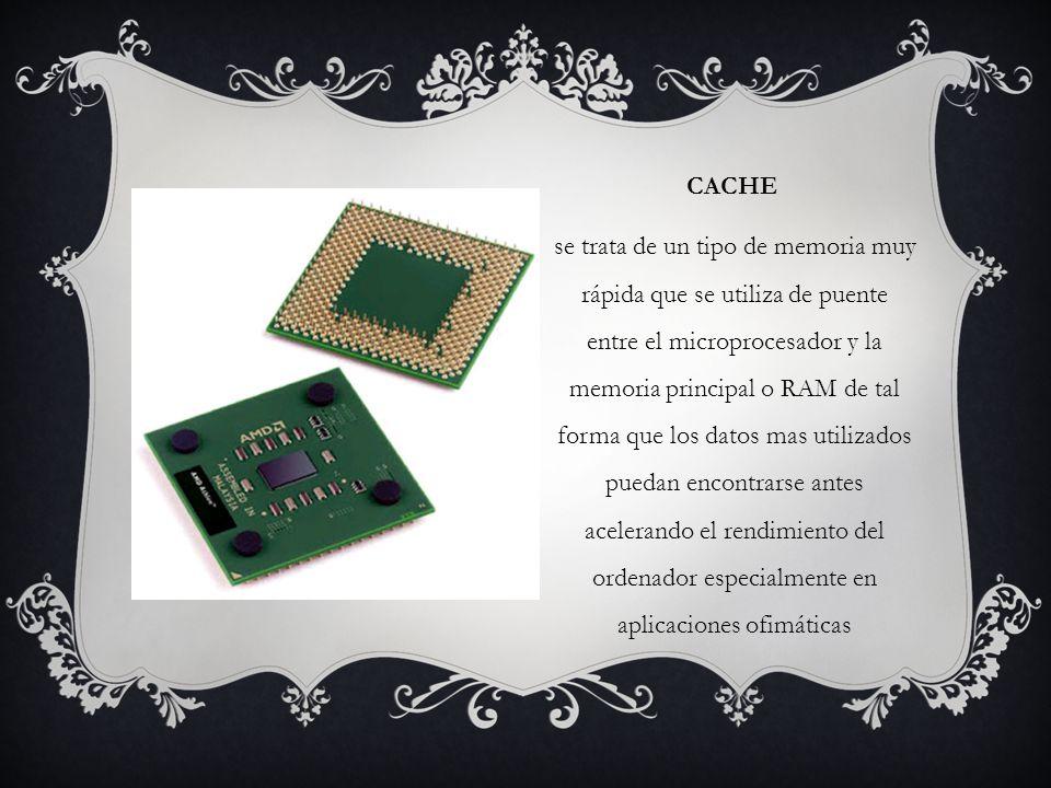 CACHE se trata de un tipo de memoria muy rápida que se utiliza de puente entre el microprocesador y la memoria principal o RAM de tal forma que los datos mas utilizados puedan encontrarse antes acelerando el rendimiento del ordenador especialmente en aplicaciones ofimáticas