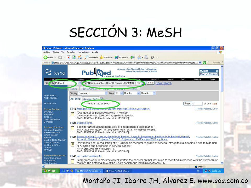 SECCIÓN 3: MeSH Montaño JI, Ibarra JH, Alvarez E. www.sos.com.co