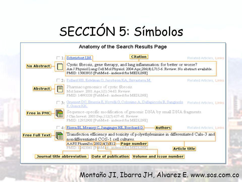 SECCIÓN 5: Símbolos Montaño JI, Ibarra JH, Alvarez E. www.sos.com.co