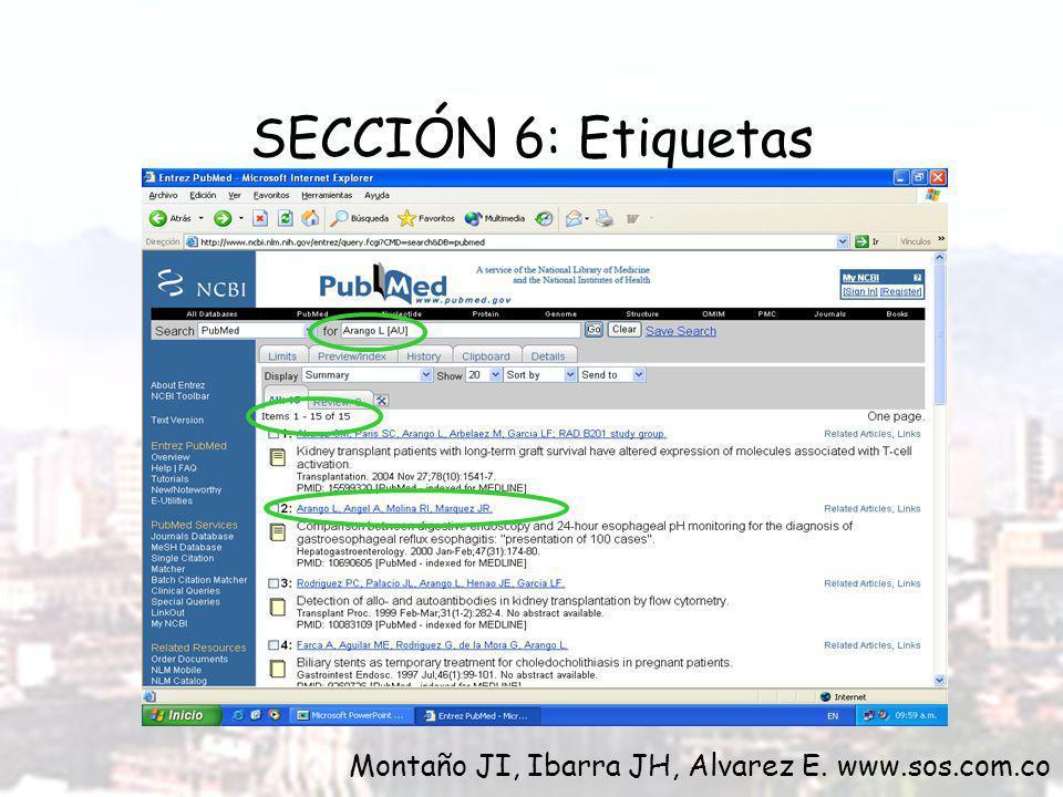SECCIÓN 6: Etiquetas Montaño JI, Ibarra JH, Alvarez E. www.sos.com.co