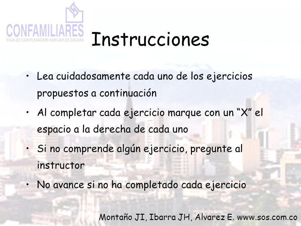Instrucciones Lea cuidadosamente cada uno de los ejercicios propuestos a continuación Al completar cada ejercicio marque con un X el espacio a la dere