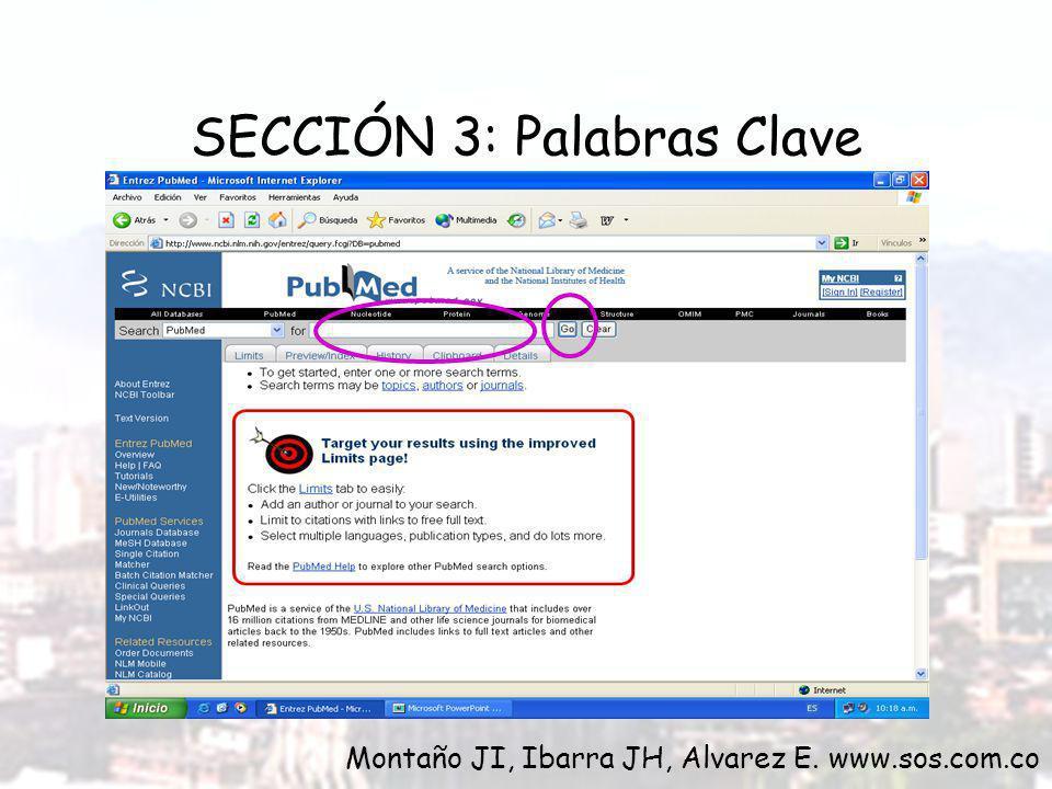 SECCIÓN 3: Palabras Clave Montaño JI, Ibarra JH, Alvarez E. www.sos.com.co
