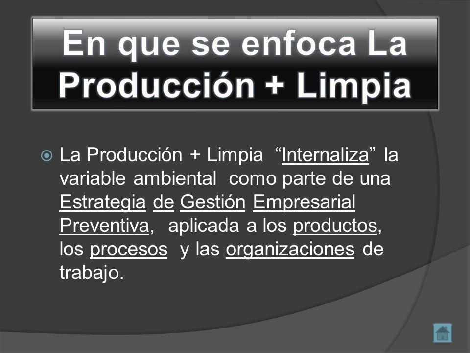La Producción + Limpia Internaliza la variable ambiental como parte de una Estrategia de Gestión Empresarial Preventiva, aplicada a los productos, los procesos y las organizaciones de trabajo.
