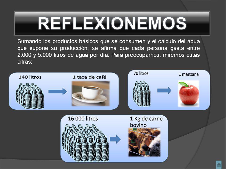 Sumando los productos básicos que se consumen y el cálculo del agua que supone su producción, se afirma que cada persona gasta entre 2.000 y 5.000 litros de agua por día.