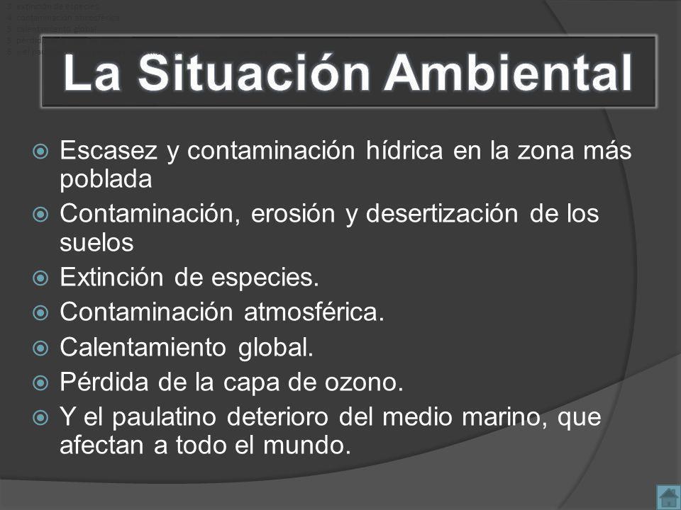 Escasez y contaminación hídrica en la zona más poblada Contaminación, erosión y desertización de los suelos Extinción de especies.