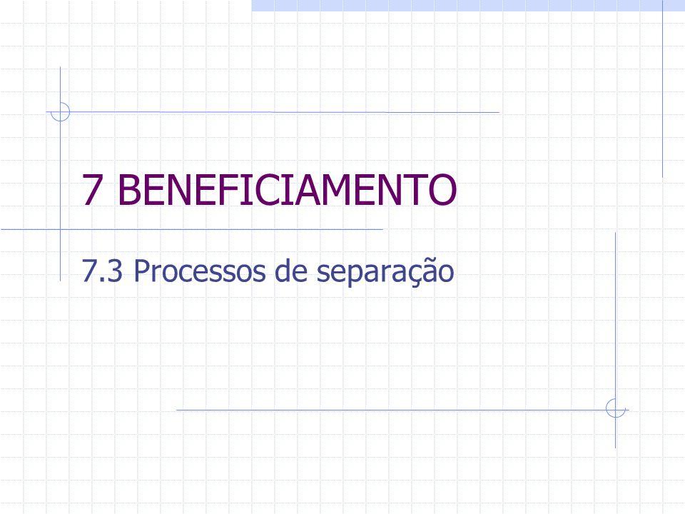 7 BENEFICIAMENTO 7.3 Processos de separação